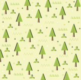 Trees forest card background. Forest green field with trees texture Royalty Free Stock Photography