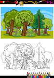 Trees and forest cartoon for coloring book Royalty Free Stock Photos