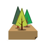 Trees forest field emblem. Vector illustration design Stock Image