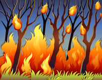 Trees in forest on fire. Illustration Stock Image