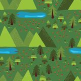Trees, forest, lakes, meadow, mountains on green background. Mountain lake outdoor scene seamless vector pattern. Nature, national. Park, summer vacation vector illustration