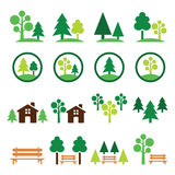 Trees, forest, park  green icons set Royalty Free Stock Image