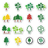 Trees, forest, park vector icons set Royalty Free Stock Image