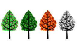 Trees of Four Seasons. Spring, summer, autumn and winter trees. PNG format available where the background is transparent Royalty Free Stock Photo