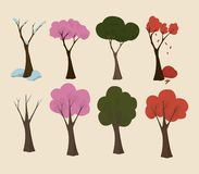 Trees in Four seasons. stock illustration