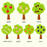 Trees. Fruit decorative trees for little child royalty free illustration