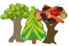 Trees from fruit and vegetables Stock Photo