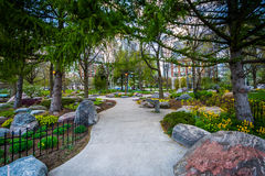 Trees and gardens along a walkway at the Toronto Music Garden, a Stock Photography