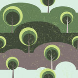 Trees on glade seamless vector pattern background Royalty Free Stock Images