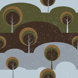 Trees on glade seamless vector pattern background Stock Image
