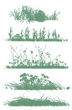 Trees and grass silhouettes Royalty Free Stock Photos