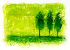 Trees on a green field. Acrylic painting royalty free illustration