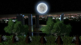 Trees and green grass with city view at night with glowing moon. With moving camera stock video footage