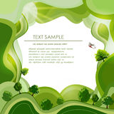 Trees on the green hills. Environmental concept illustration Royalty Free Stock Photography