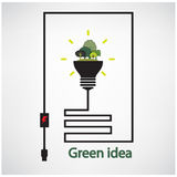 Trees and green light bulb on background,green concepts Stock Photo
