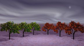 Trees green and orange. Three trees green and three trees orange Royalty Free Stock Photography