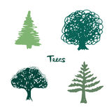 Trees green silhouette. Vector inked hand drawn isolated collection. Royalty Free Stock Photo