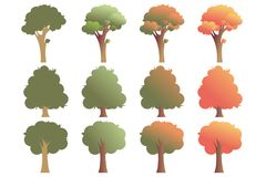 Set of trees in various shapes, isolated on white background. Vector illustration, EPS 10. The trees have gradient green and red leaves to present season Royalty Free Stock Images