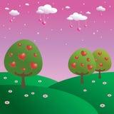 Trees of hearts Stock Photo