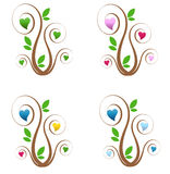 Trees with Hearts. A set of four trees with curly branches and hearts Royalty Free Stock Photo
