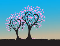 Trees hearts silhouette illustration on blue Stock Images