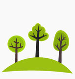 Trees on hill. Trees on the hill - green vector illustration Royalty Free Stock Photos