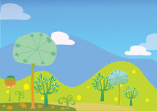 Trees and hill landscape vector kid illustration Stock Image