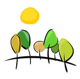Trees on hill at sunny day vector illustration. Trees on the hill at sunny day vector illustration. 6 trees, hill and yellow sun isolated on white background Royalty Free Stock Photography