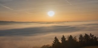 Trees and hills on mountain in the morning. Autumn royalty free stock photography