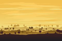 Trees on hills Royalty Free Stock Image
