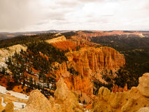 Trees and Hoodoos Bryce Canyon. Bryce Canyon is a giant natural amphitheater along the Paunsaugunt Plateau created from millions of years of erosion Stock Image