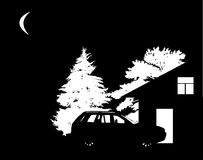 Trees, house and car silhouettes Stock Image