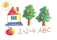 Trees and house. Kindergarten illustration. Apple and numbers. ABC. Sun. Kids drawing style picture. Trees and house. Kindergarten illustration. Apple and stock illustration