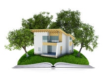 Trees and house on the open book Stock Image