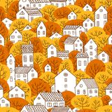 Trees and houses seamless pattern autumn orange yellow colors royalty free illustration