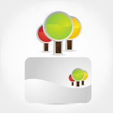 Trees Icon & Business card. Royalty Free Stock Photos