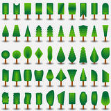 Trees icon flat set for games Stock Images