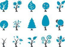 Trees Icon Set Stock Photos