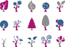 Trees Icon Set Stock Photo