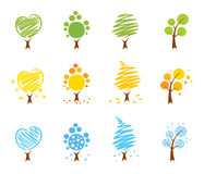 Trees Icon set (summer, winter, autumn) Stock Photos