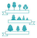 Trees icons. Vector style of trees icons Stock Image