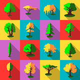 Trees icons set, flat style Stock Photography