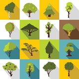 Trees icons set, flat style. Trees icons set. Flat illustration of 16 trees vector icons for web Royalty Free Stock Photos