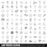 100 trees icons set, outline style Royalty Free Stock Images