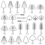 Trees icons Royalty Free Stock Photography
