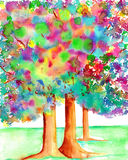 Trees With Illuminated Leaves Watercolor Painting Royalty Free Stock Photo