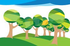 Trees Illustration. Illustrated green trees isolated on white Royalty Free Stock Photography