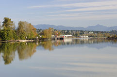 Trees on an island reflecting on river water Stock Photography