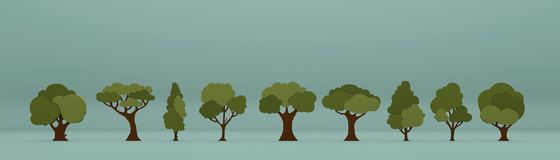 Trees isolated on blue background Stock Photography