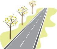 Trees längs vägen royaltyfri illustrationer